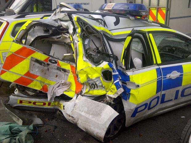 Ten driving offences on his record: why was driver who did this to police car on A338 allowed behind wheel of National Express coach?