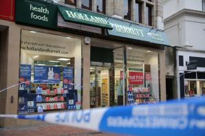Health food store cordoned off due to broken sign